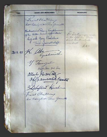 Folder and one page  of Hitler's Book of Visitors, 20 April 1945.