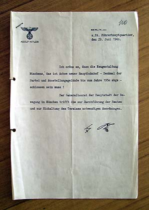 Adoff Hitler's order for reconstruction of Munchen station square, 1940.
