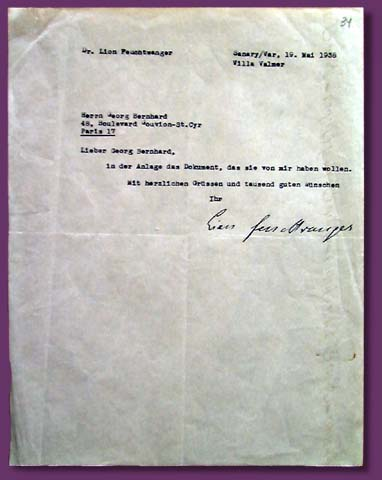 Lion Feuchtwanger's note about Georg Bernhard  and his letter to Georg Bernhard, 19 May 1938.