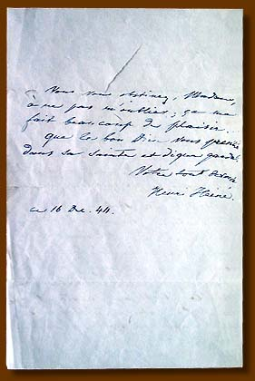 Heinrich Heine's letter (letter in French),  an addressee is unknown, 1844.