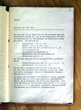Martin Bormann's circular letter concerning the attempt upon the life of Hitler, 1944