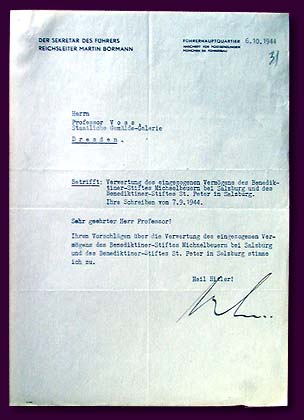 Martin Bormann's order for use of confiscated property of Zahltzburg monasteries (Austria), 1944