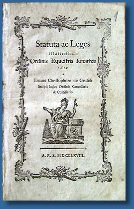 Statutes and laws of the Order of St. Joachim, 1756, 1768.