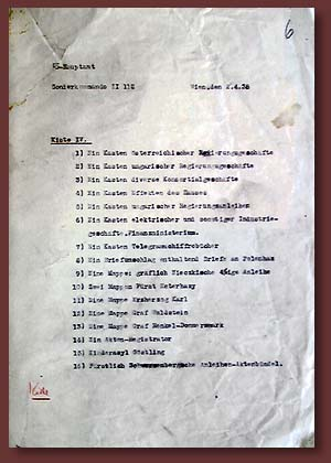 The list of archival materials, seized by Wehrmacht subunits in France, 1940-1941.