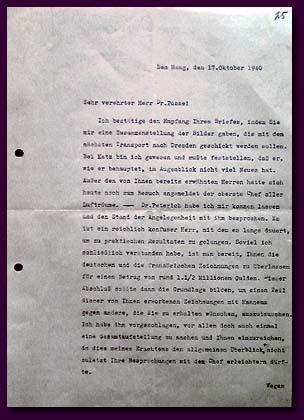 The letter of Wiekkel, the Head of the Cultural Exchange Special Department of the General Special Purpose Commissariat under the Reich-commissar on occupied Netherlands areas, Counselor of the Embassy, to Hans Posse concerning the contacts with Lucas Peterich with regard to the sale of drawings collection to A. Hitler, October, 1940.