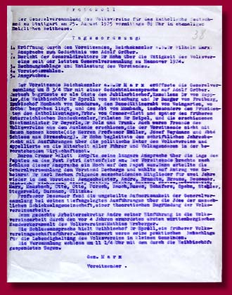 "The minutes of the Meeting of the Congress of the ""Catholic Germany"" People's Union in Stuttgart, August 25, 1925."
