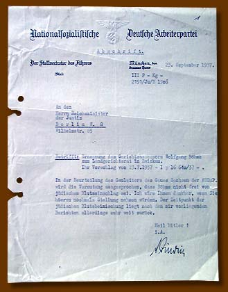 The letter of one of A. Hitler's NSDAP deputies to the Justice Reich-minister with regard to the purity of Aryan origin of Wolfgang Boeme in connection with his appointment to the post in the Land Court of Zwikau, September, 1937.