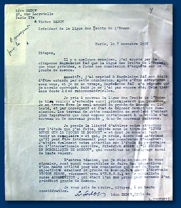 Leon Sedov's letter (Leon Trotsky's son) to the Chairman of the League of Defense of Human and Citizen Rights in connection with the request to take part in the Meeting of the Commission on investigation of Trotskyistsko-Zinovievsky Trial in Moscow, November 07, 1936.